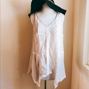 Spense Boho Asymmetrical Hem Tank with lace trim